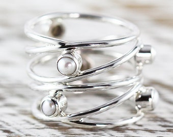 Silver Pearl Ring Womens Dainty 925 Sterling Freshwater Pearls