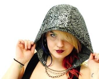 Hood - Festival Hood - Hippie Hood - Boho Hood -Gypsy Hood - Chain Hood - Gray Hood - Reversible Hood