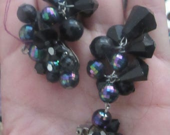 black dangle earrings  clip ons