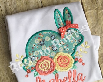 Personalized Vintage Bunny Rabbit Shirt- Personalized Bunny Shirt - Monogrammed Easter Shirt - Easter Bunny Shirt