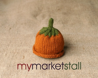 Pumpkin Hat for Babies 0-3 Months/Acrylic/Machine Washable/Hand Knitted/Everyday Use/Photography Prop/ Ready to Ship