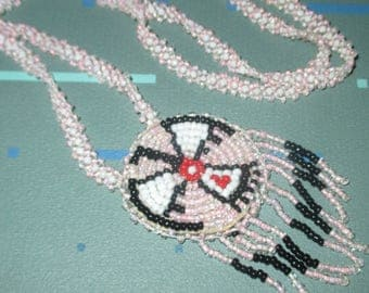 Last Call........Vintage Seed Bead Glass Pink Southwest Design Eagle Motif Necklace