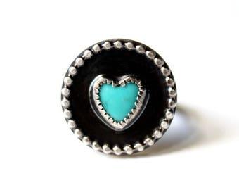 Kingman Turquoise Heart Sterling Silver Ring | Arizona Mine | December Birthstone | Gugma Women's Minimalist