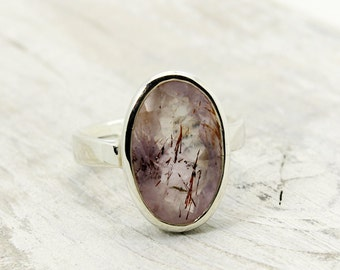 Melody stone cacoxenite ring sterling silver ring elestial stone super seven super 7 ring for her natural cacoxenite