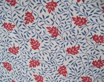 Home Decor Fabric Duralee Babette Cotton Red Coral Blue on Cream French English Country Cottage 2.5 yards