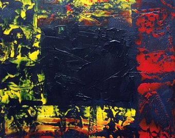 """Abstract 12""""x12"""" canvas red yellow white blue"""