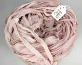 Recycled Silk CHIFFON Sari Ribbon, chiffon sari ribbon, Rose quartz ribbon, silk chiffon ribbon, tassel supply, weaving supply,