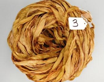 Silk Sari Ribbon, recycled sari ribbon, Sari Silk Ribbon, Tobacco Leaf Sari ribbon, brown ribbon, weaving supply, jewelry supply, ribbon