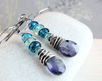 Blue Gemstone Earrings Oxidized Silver  Iolite Apatite Gemstone Jewelry Sterling Silver Wire Wrapped