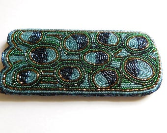 Vintage Beaded Eye Glass Case Holder Satin Interior Peacock Colors GORGEOUS!