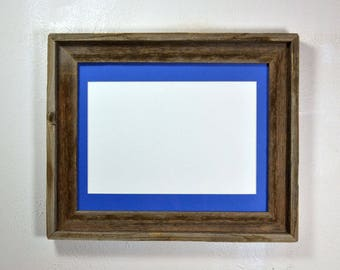 Picture frame with 8x12 mat without mat 11x14 from recycled wood 20 mat colors available glass included