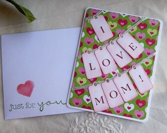 Handmade Mother's Day Card: hearts, tags, mulit color, greeting cards, cards, mom, complete card, handmade, balsampondsdesign