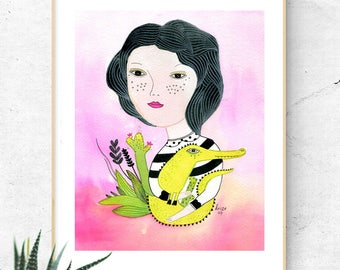 Crocodile Illustration, Crocodile Painting, Woman Illustration, Girl Portrait, Woman Portrait, Crocodile Nursery Art, Original