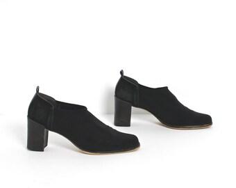 size 8.5 BLACK 80s 90s stretchy MINIMAIST GOTH slip on high heel