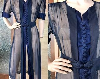 1930s 1940s sheer navy blue net dress (L/XL)