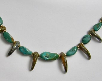 Lampwork Glass Claw Necklace with Himalayan Turquoise and 14K20 Gold Filled