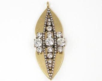 Long Antique Gold Clear Rhinestone Pendant Large Leaf or Shield Shape Boho Tribal Pendant Drop |LG3-13|1