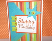 CLEARANCE SALE Kid's Birthday Card -Bright Fun Star Birthday Card - Hand Stamped Birthday Card - Childrens Birthday Card - Orange, Lime Gree