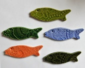 5 colorful lace embossed ceramic fish...set number 5