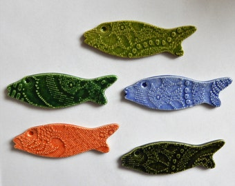 5 colorful lace embossed ceramic fish...set number 5