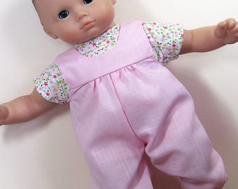 Bitty Baby or Twin Doll Clothes - Pink Romper with Flower Tee