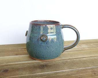Coffee Cup, Ceramic Stoneware in Sea Mist Glaze - Single Pottery Mug