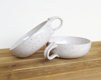 Glossy White Speckled One Handle Stoneware Pottery Bowls - Set of 2