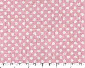 Polka Dots - White on Pink - 100% Cotton Fabric - By the yard and half yard- Lots of Dots - by Choice- Quilt Weight.