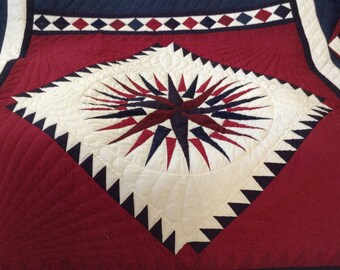 Amish made, Queen Size, Hand Quilted - Complex Star Quilt