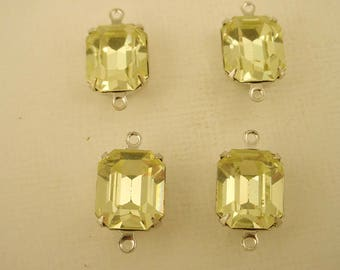 4 vintage glass Swarovski Jonquil yellow  Octagon 12x10 stones  closed  back brass setting 2 ring connector charms
