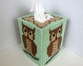 Owl Tissue Box Cover. Owl Design Tissue Topper. Owl Room Decor. Owl Baby's Room Decor. Plastic Canvas Needlepoint Boutique Tissue Cover