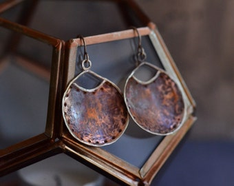 Hammered Copper Earrings - Patina Cooper Earrings - Rustic Copper Earrings - Sterling Silver Mixed Metal Earrings - Copper Disc Earrings