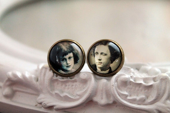 Alice in Wonderland Lewis Carroll clip on earrings Victorian sweet lolita feminine