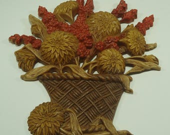 Beautiful Vintage Mums In Basket Plastic Wall Plaque From Burwood Products Company 2066-02 '70's, Seventies, Fall, Retro Kitchen, Kitsch,