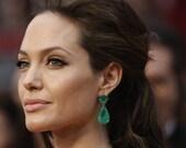 "Black Friday Sale Angelina Jolie Inspired Emerald Green Onyx Stone Gold Dangle stud Earrings 2"" Original Size"