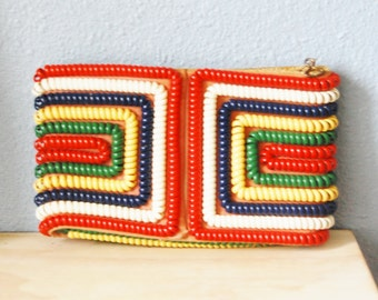 Vintage Telephone Cord Clutch Purse Red White Blue Yellow Green  1940s 50s