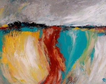 Weathering The Storm - Original 9 x 12 inch abstracted landscape painting