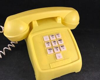 Vintage 1970's Era Yellow Plastic Toy Telephone