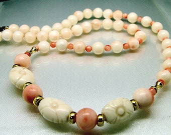 14k Yellow Gold Vintage Undyed Carved Angel Skin Coral Bead Necklace