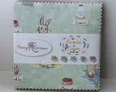 "SALE 5"" inch squares BUNNIES & CREAM charm pack fabric by Riley Blake by Lauren Nash"