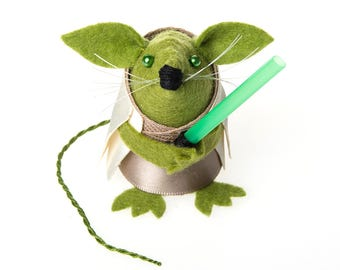 Yoda Mouse - Star Wars inspired collectable art rat artists mice felt mouse cute soft sculpture toy stuffed plush doll gift for husband dad