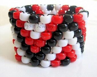 Red, Black Kandi Cuff Bracelet, ZigZag Kandy bracelet, Raver Plur, Edm Accessories