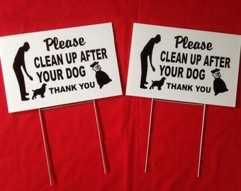 """SET OF 2) 12"""" x 8"""" No dog Poop sign Please clean up after your dog Lawn sign with 2 steel stands  ship in 24 h"""
