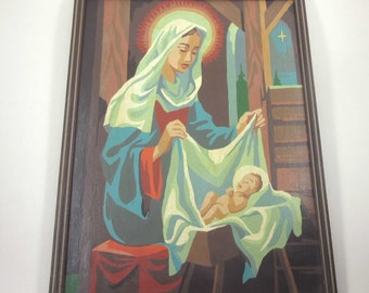Vintage Paint By Number or PBN with Virgin Mary and Baby Jesus Religious Christmas Catholic