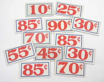 Vintage Red White and Blue Small Grocery Store Price Tags Set of 12 Lot B