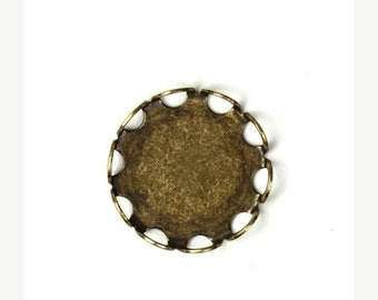50% OFF SALE Settings 13mm Lace Edge Round Brass Ox (6) FI437