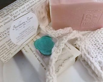 Handmade Homemade Natural Soap 6oz LARGE BARS ((Special Sale 3 bars for 25.00)) Plus Cotton Crocheted Soap Saver Bag You pick the Scents
