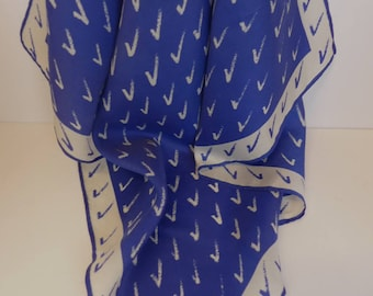 "Vintage Navy Blue Vera Silk Scarf 21"" Square"
