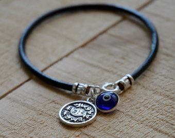 Blue on Leather Evil Eye Men's Protection Bracelet