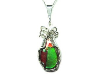 Ammolite Sterling Silver Pendant with chain